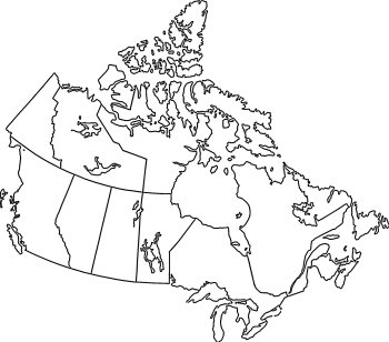 Plain map of Canada with clear outlines
