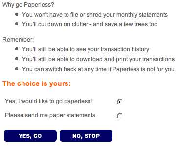 How to stop receiving paper statements at ING Direct