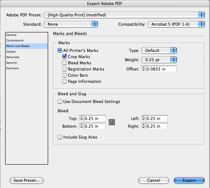 Show Crop Marks When Exporting A Business Card Pdf With Bleed In
