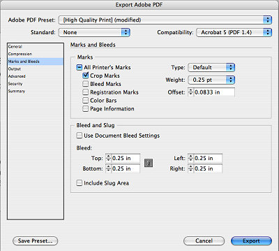 Screenshot of my InDesign crop mark settings for business cards