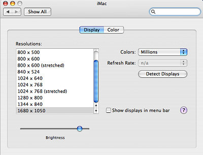 Display menu in System Preferences