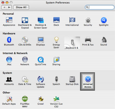 The System Preferences Menu with the Universal Access Option