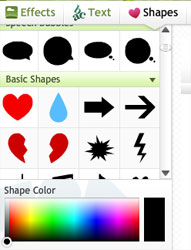 Built-in Picnik arrow shapes