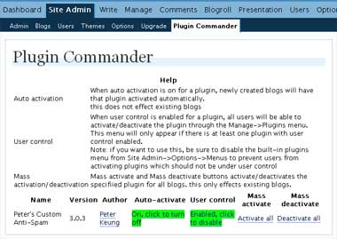 Plugin Commander for WordPress MU