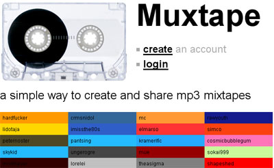 Muxtape home page