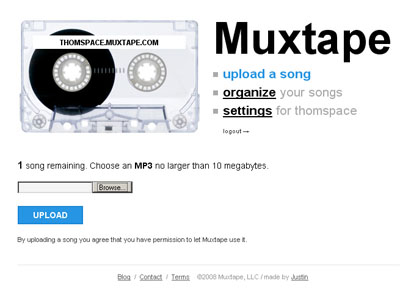 Muxtape upload interface