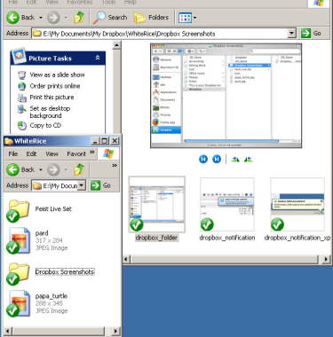 Windows XP Dropbox integration