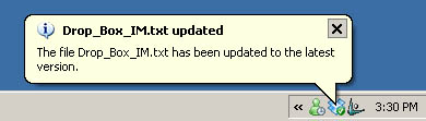 Notification of a makeshift IM file update