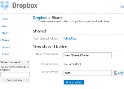 Sharing a new folder via the web interface