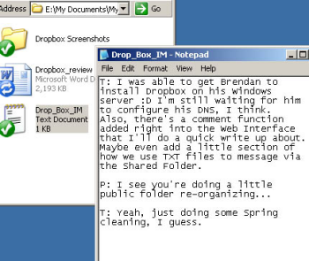 Using a text file as an IM channel through Dropbox