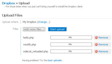Upload files via the Dropbox web interface
