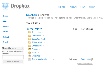 web interface files Dropbox
