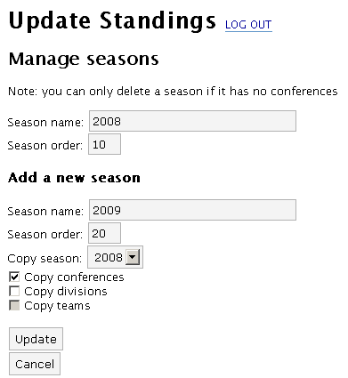 Add a new season with the option to copy the details from a previous season