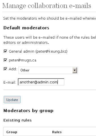The management screen for configuring moderators