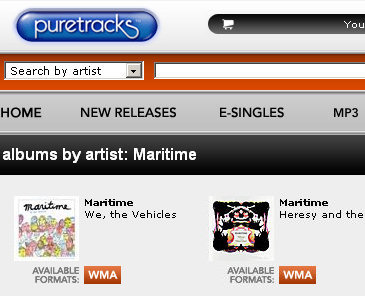 WMA-only music at Puretracks