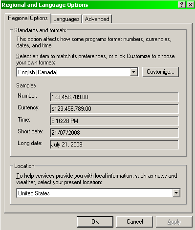Changing location setting to United States in Windows