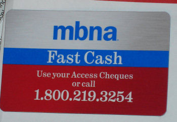 MBNA magnet for access cheques