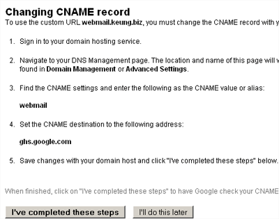 Instructions on adding a CNAME record