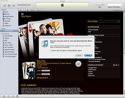 Information page for an iTunes movie