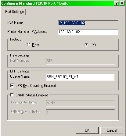 Port settings for Brother 7820N