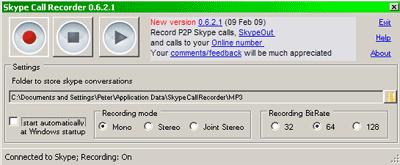 Skype Call Recorder interface