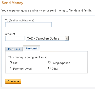 Choose to send money with PayPal for personal items