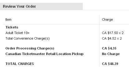 Ticketmaster fees in step 2