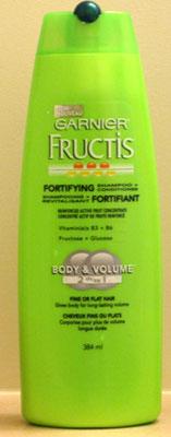 Garnier Fructis shampoo bottle