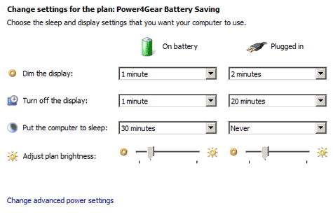 Adjusting the brightness for one of the power plans