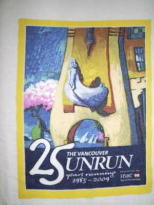 2009 Vancouver Sun Run t-shirt design