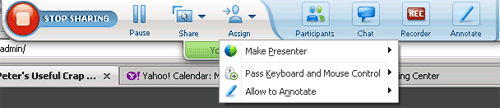 WebEx sharing toolbar