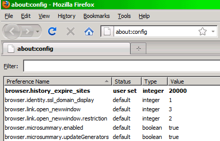 about:config browser.history_expire_sites