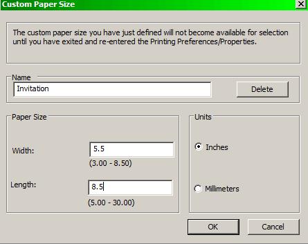 HP 7760 custom paper size dialog