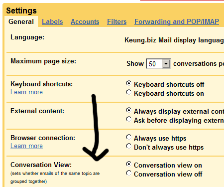 The setting to turn off GMail's conversation view